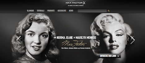 Max Factor Homepage Marilyn Monroe