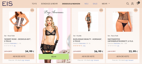 eis.de Onlineshop Webshop Homepage