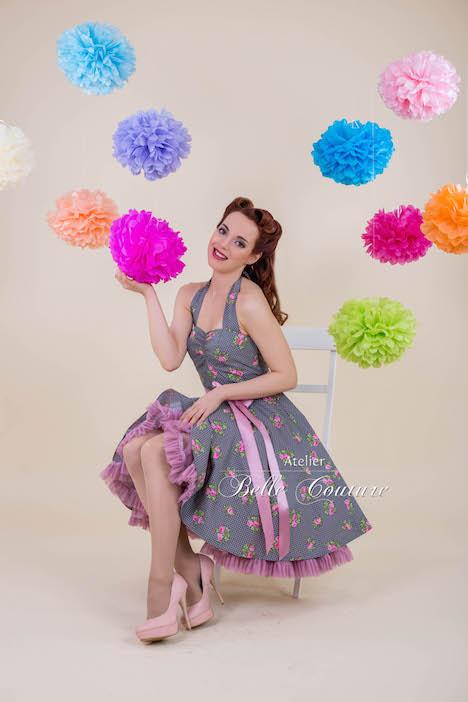 Atelier Belle Couture Petticoatkleid Blumenmuster 1