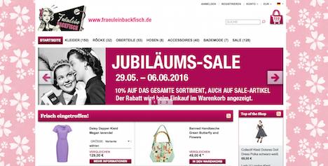 Fraeulein Backfisch Homepage Onlineshop Webshop