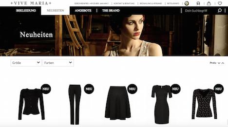 VIVE MARIA Homepage Onlineshop