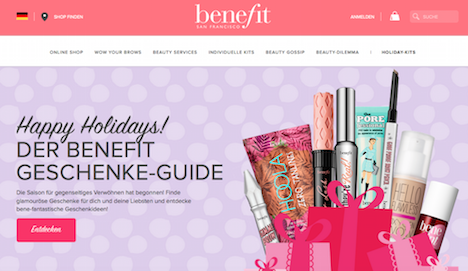 Benefit Cosmetics Homepage Onlineshop