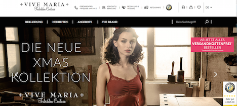 VIVE MARIA Onlineshop Homepage