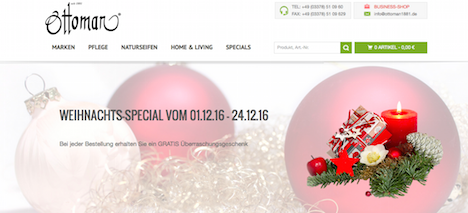 Ottoman 1881 Homepage Onlineshop Weihnachts-Special