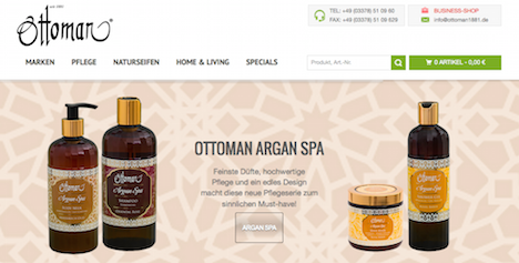 Ottoman 1881 Onlineshop Homepage Argan Spa