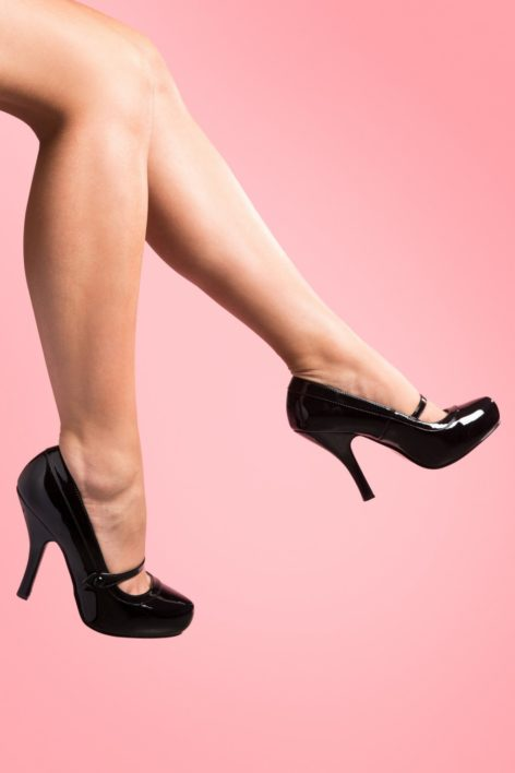 40s Cutiepie Mary Jane Black platform patent pumps
