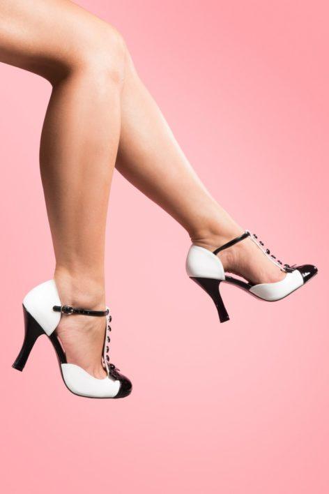 40s Smitten T-strap D'orsay pumps black white