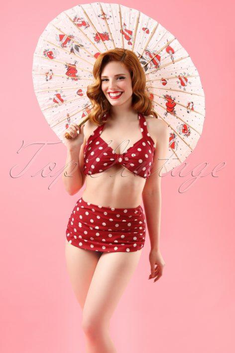 50s Classic Polka Bikini in Red and White