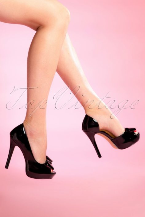 50s Lolita Lacquer Peeptoe D'Orsay Pumps in Black