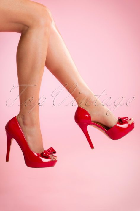 50s Lolita Lacquer Peeptoe D'Orsay Pumps in Lipstick Red