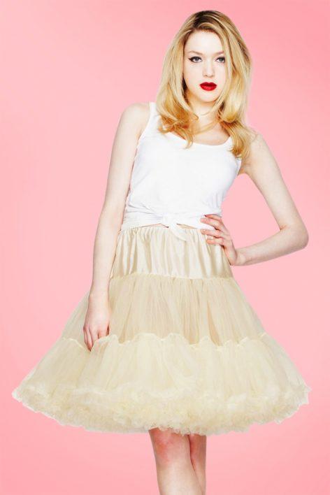 50s Retro Short Petticoat Chiffon in Ivory