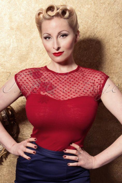 Miss Fancy Heart Top Red