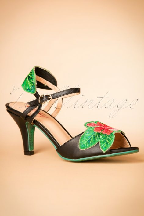 30s April Love Hibiscus Sandals in Black