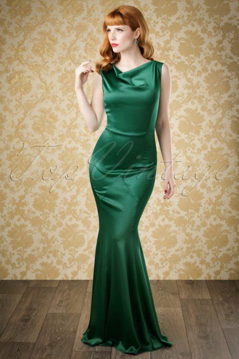 30s Ingrid Mermaid Dress in Emerald