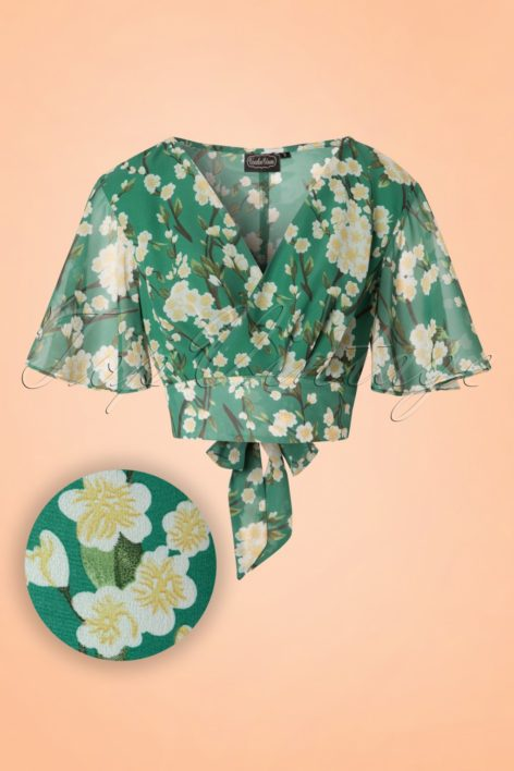 40s Leah Flowers Top in Green