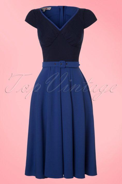 TopVintage exclusive ~ 50s Carmen Swing Dress in Kobalt and Navy