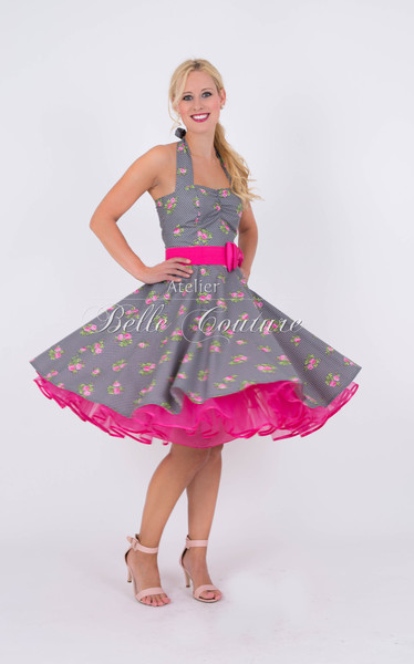 1950s Petticoat Kleid Candy Rose greypink