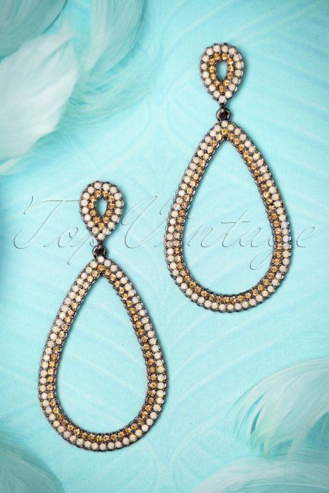 20s Etta Earrings in White and Gold