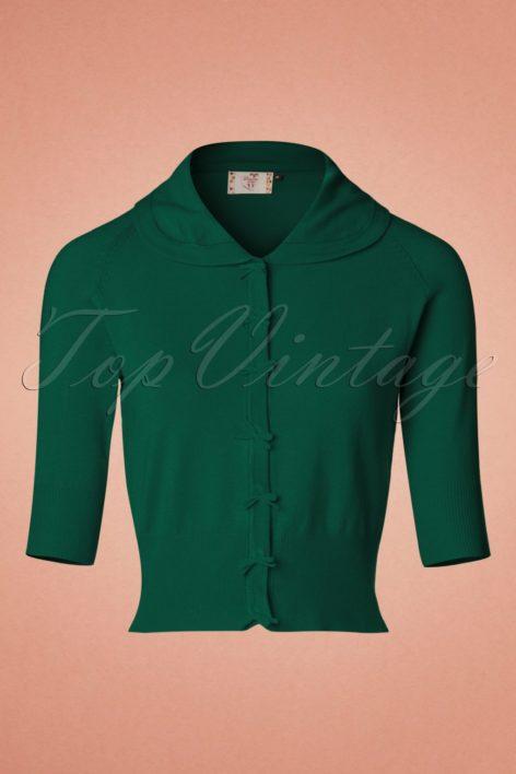 40s April Bow Cardigan in Dark Green