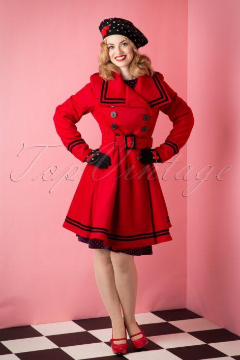 50s Millie Swing Winter Coat in Red