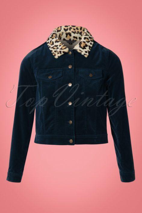 60s Janey Woven Velvet Jacket in Night Blue