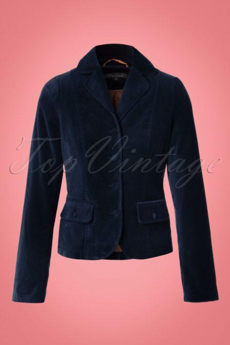 60s Woven Velvet Blazer in Night Blue