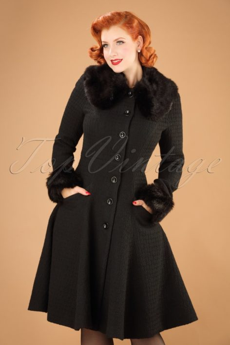 30s Alise Swing Coat in Black