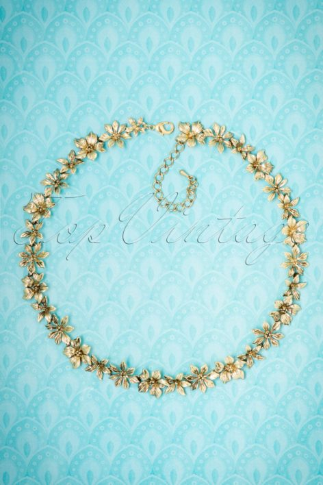 30s Layla Floral Necklace in Gold