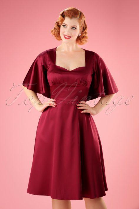 30s Lisa Cape Dress in Wine