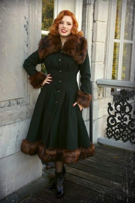 30s Pearl Coat in Dark Green