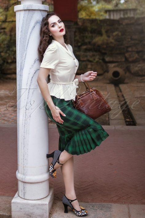 40s Agnes Tartan Pencil Skirt in Green