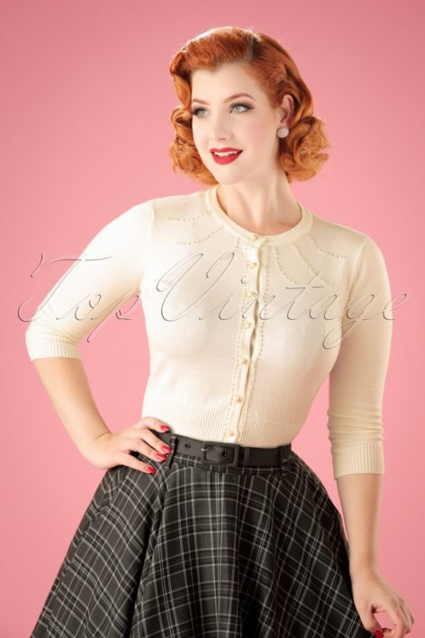 40s Alana Pearl Cardigan in Cream