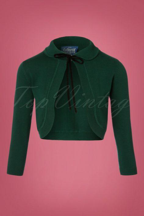 40s Andi Knitted Bolero in Green
