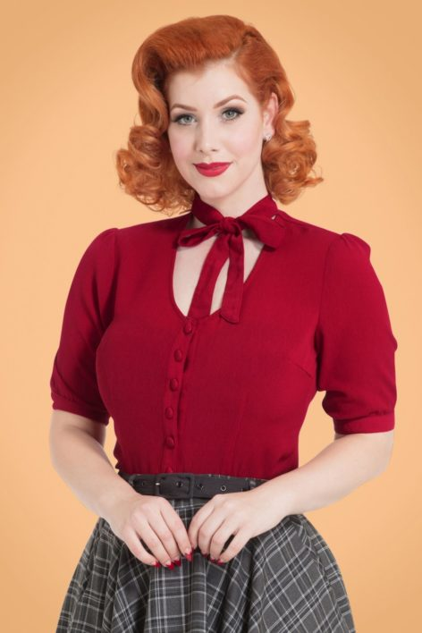 40s Candice Bow Blouse in Dark Red
