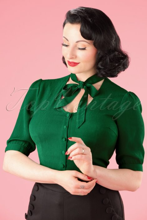 40s Candice Bow Blouse in Emerald Green