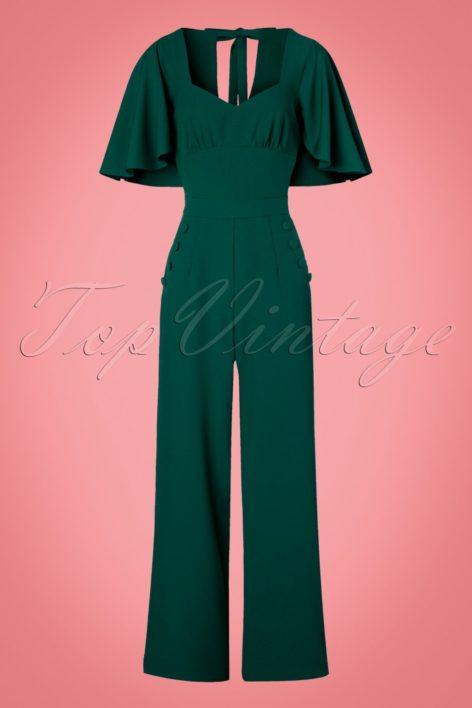 40s Esmeralda Cape Jumpsuit in Teal Green