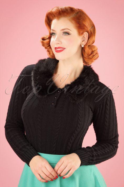 40s Felicity Fur Collar Jumper in Black