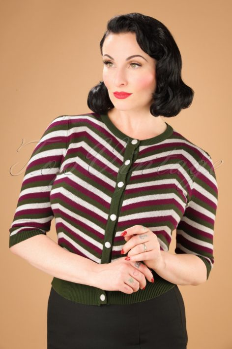 40s Holly Chevron Cardigan in Olive