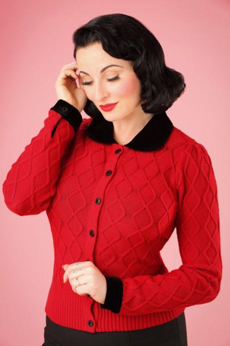40s Imogen Velvet Cardigan in Bright Red