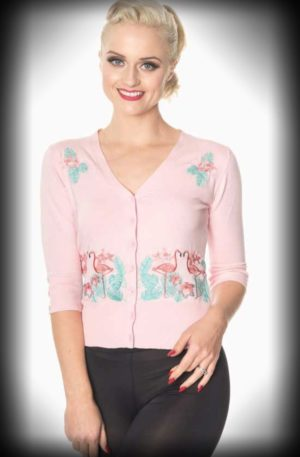 Banned – Cardigan Flamingo Paradise von Rockabilly Rules