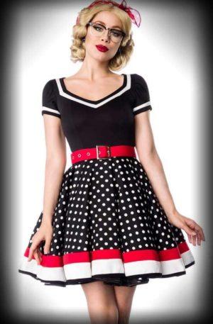 Belsira Polka Dot Kleid mit V-Ausschnitt – Peggy Sue von Rockabilly Rules