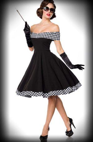 Belsira – Schulterfreies Swingkleid Louise, schwarz-weiß von Rockabilly Rules