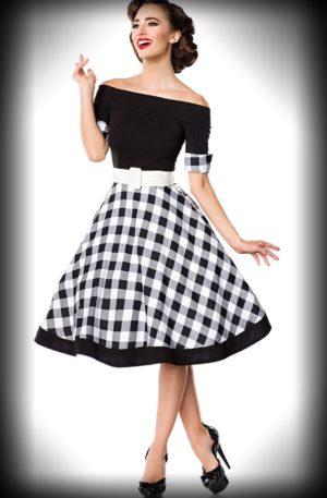 Belsira – Schulterfreies Swingkleid, schwarz-weiß von Rockabilly Rules