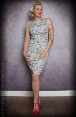 Etuikleid | Pencil Skirt Kleid – Vichykaro mit Früchten, hellblau/weiß von Rockabilly Rules