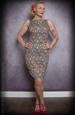 Etuikleid | Pencil Skirt Kleid – Vichykaro mit Früchten, schwarz/weiß von Rockabilly Rules