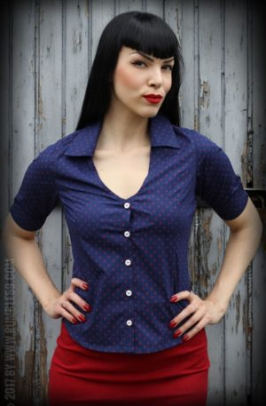 Rumble59 Ladies – Bluse Anchors Forever – blau/rot von Rockabilly Rules