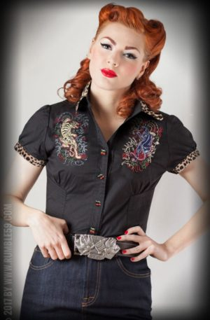 Rumble59 Ladies – Bluse Born to be wild – Leopatch von Rockabilly Rules
