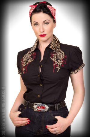 Rumble59 Ladies – Bluse Heaven 'n' Hell – Leopatch von Rockabilly Rules