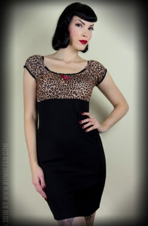 Rumble59 Ladies – Carmenkleid – Hot Leopard von Rockabilly Rules