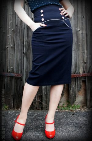 Rumble59 Ladies – High Waisted Pencil Skirt – Ahoi Sailor! von Rockabilly Rules